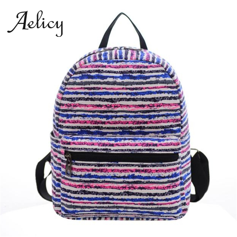 Aelicy Double Shoulder School Bag for Students Stripe Cute Print Canvas Book Rucksack Women Girls Boys Small Mini BackpackAelicy Double Shoulder School Bag for Students Stripe Cute Print Canvas Book Rucksack Women Girls Boys Small Mini Backpack