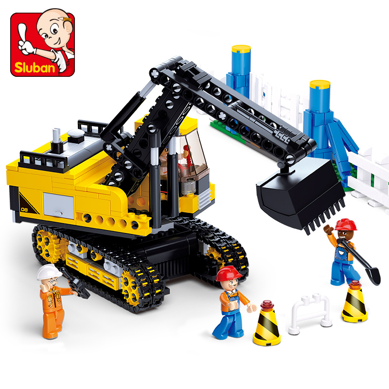 0551 SLUBAN City Heavy Crawler Excavator Model Building Blocks Classic Enlighten Figure Toys For Children Compatible Legoe b1600 sluban city police swat patrol car model building blocks classic enlighten diy figure toys for children compatible legoe
