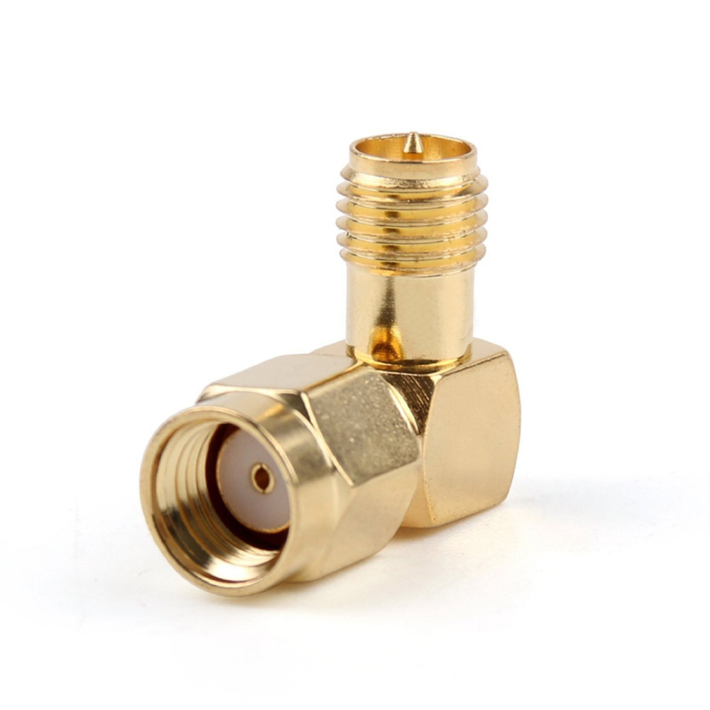 цены RP SMA Brass Adapter RP.SMA Male Jack To RP SMA Female Jack Screw Thread Connector 90 Degrees Right Angle RF SMA Adapter