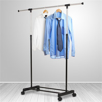 Liplasting Adjustable Rolling Steel Clothes Hanger Organizer Garment Rack Heavy Duty Rail With Wheel Clothes Accessories