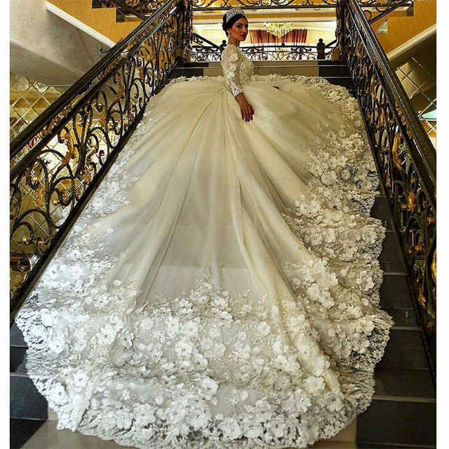 6e2496edc589 Luxury Lace Royal Wedding Dresses Long Sleeve Florals Cathedral Train Ball  Gown Gelinlik 2019 Bridal Gowns Robe de mariage