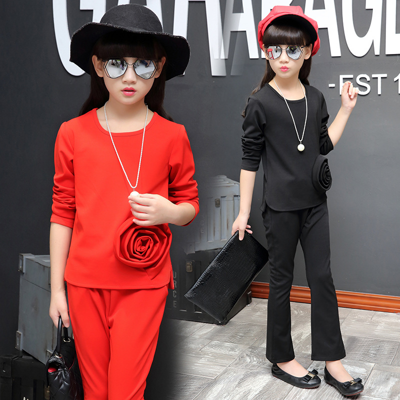 Girls Clothing Sets Solid 3D Flower Girls Clothes Set Kids Long Sleeve Shirts+Pants Suit Girls Teenager Outfits 4T 6 8 10T 12 14 kids stripe outfits for teenage girls long sleeve clothes sets girls school shirts