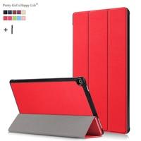 Pretty Kız Mutlu Yaşam için Amazon Kindle Yangın HD 10 2017 Tablet Kılıf HD 10 2017 İnce Akıllı Flip Deri Standı Kapak çapa + Stylus
