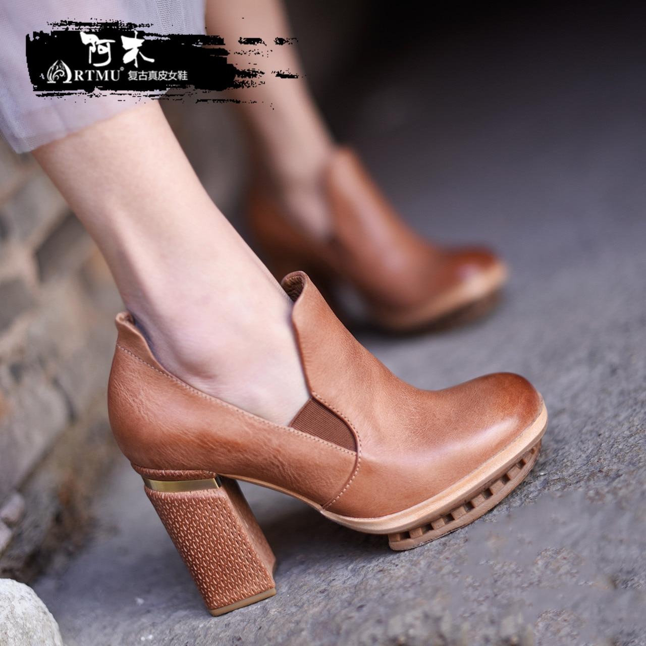 Artmu Mode Femmes Chaussures Pompe 9.5 cm Haute Talons peau de Vache Chaussures en cuir Femelle Bout Pointu Super Haute Chaussures Simples Femme chaussures