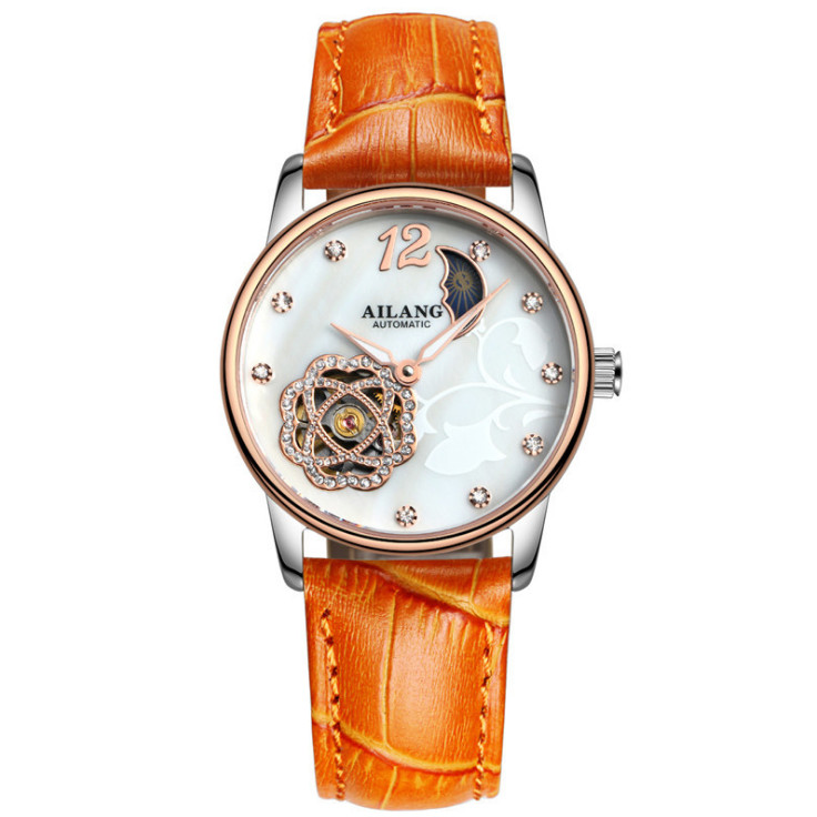 AILANG Lucky Flower Women Leather Watches Lady Shining Moon Phase Pattern Fashion Wristwatch Female Clock Mechanical Watch A022 the little old lady who struck lucky again