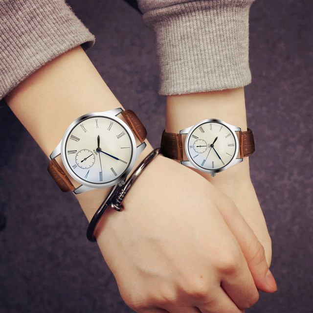 Fashion Couple Watch Women Mens Analog Casual Brown Leather Strap Couple Watches
