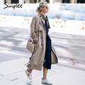 Simplee Тонкий пояса длинный плащ Элегантный двухместный брестед осеннее пальто Женщин зима 2016 хаки карман пальто уличная