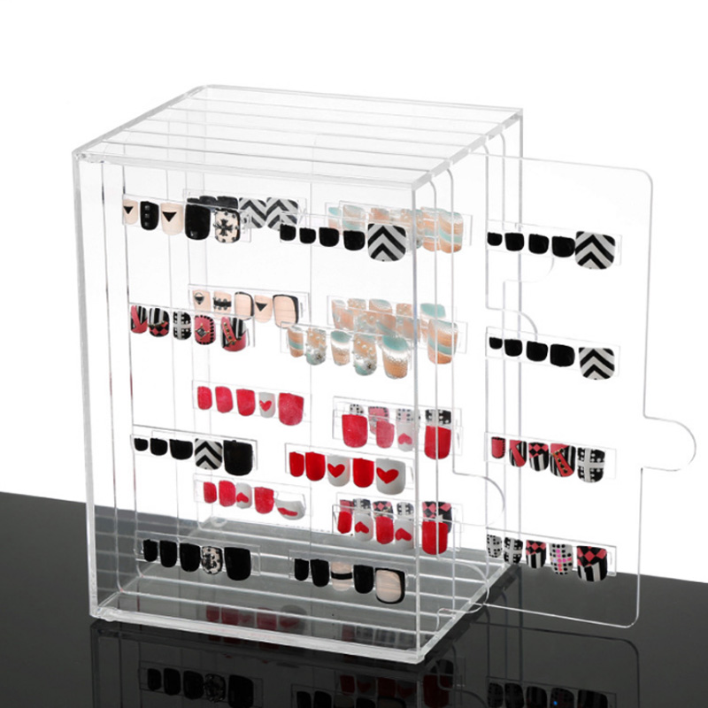 Clear Nail Gel Polish Color Card Nail display full color rack Storage Box Case Nail Art  ...