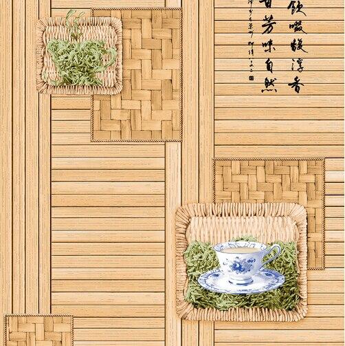 Chinois rétro thé restaurant fond d'écran papier peint 3D mural papier peint 3D fleur bambou papier peint salon papier peint rouleau - 2