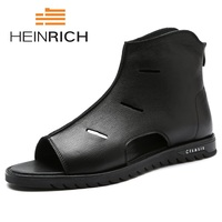 HEINRICH New 2018 Summer Shoes Men Genuine Leather Sandals High Quality British Brand Rome Personality Footwear Men's Sandals