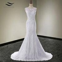 Solovedress Scoop Neck White Cap Sleeves Mermaid Elegant Wedding Dress Lace 2017 Bridal Gown Vestido De