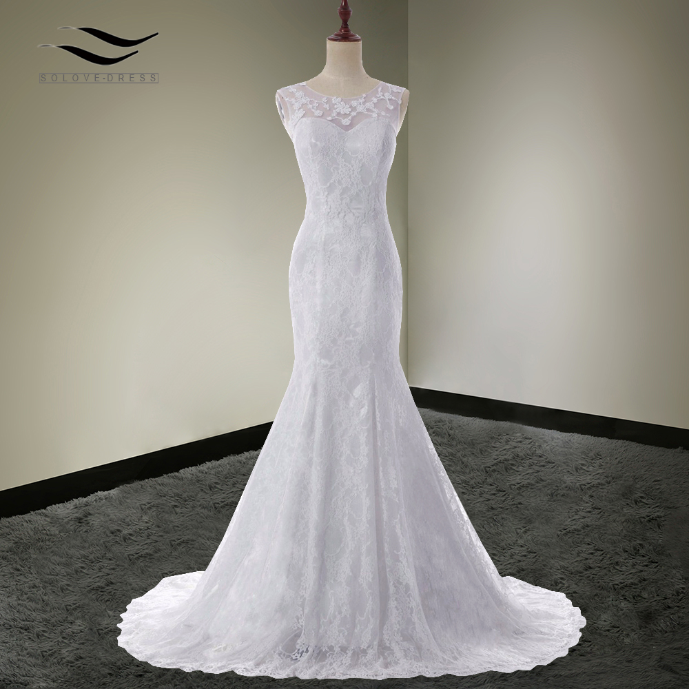 Solovedress Scoop Neck White Cap Sleeves Mermaid Elegant Wedding Dress Lace 2017 Bridal Gown vestido De noiva Chaple Train SLD85