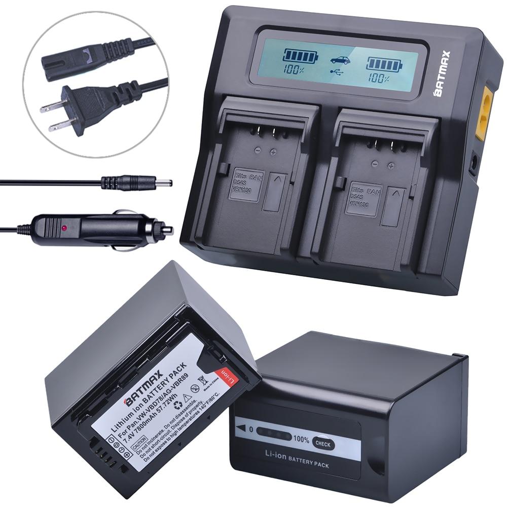 2Pcs 7800mAh VW-VBD78 VBD78 Battery + Rapid LCD Dual Charger for Panasonic VBD58 VBD29 AJ-HPX260MC,HPX265MC,PX270,AG-FC100,MDH2 аккумулятор acmepower ap vbd 78 li ion 7 2в 6700мaч для компактных камер panasonic ag 3da1 ag ac8 ag dvc30 ag hpx171 ag hpx250 ag hpx255 ag hvx201 aj pcs060 aj px270 aj px298 hc mdh2 hc x1000 hdc z10000