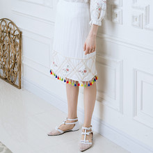 LYNETTE'S CHINOISERIE Spring and summer new arrival beautiful cross stitch brief multicolour fashion tassel cotton cloth skirt