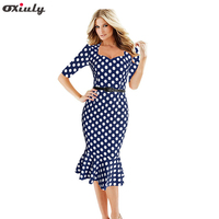 Womens Elegant 1950s Vintage Polka Dot Fitted Stretch Bodycon Slim Business Work Wear Formal Party Mermaid