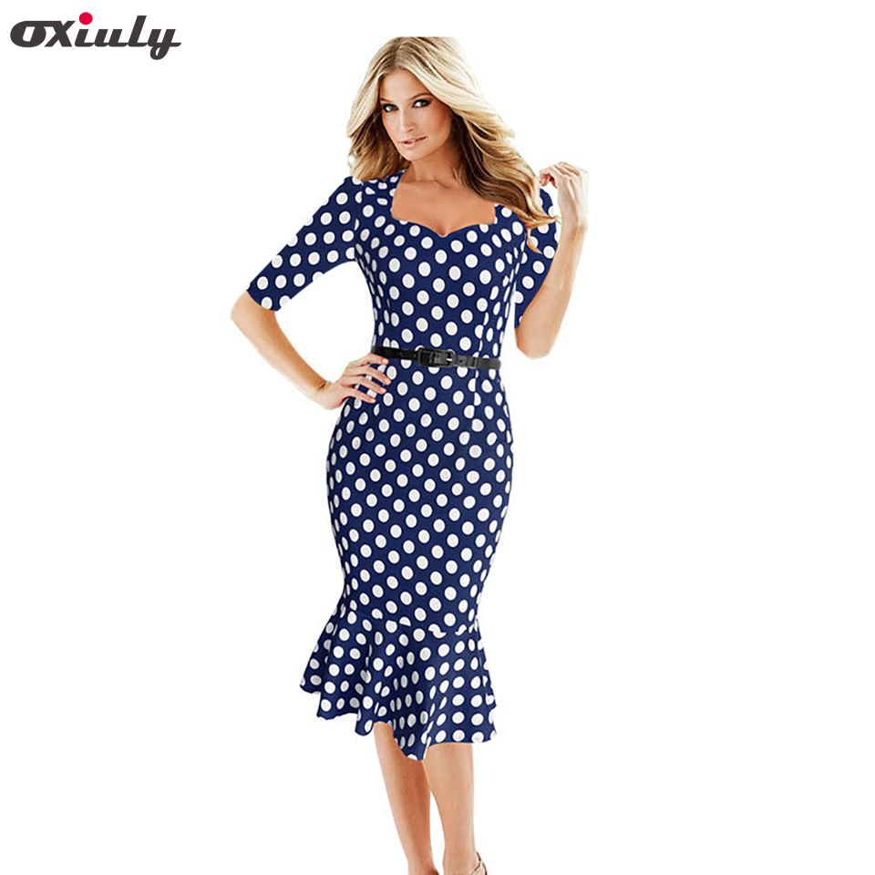 7339aaa4e56a7 Oxiuly Womens Elegant 1950s Vintage Polka Dot Printed Fitted Stretch Slim  Business Work Wear Formal Party Mermaid Wiggle Dress
