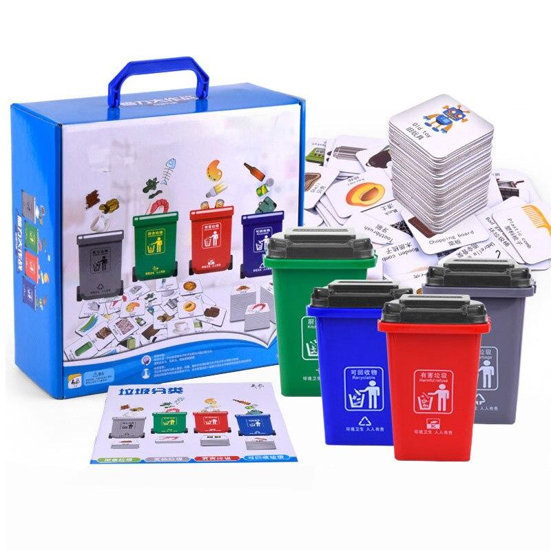 Montessori créatif parent-enfant jeu ordures classification de l'environnement jouet enfants éducation précoce carte jouets éducatifs