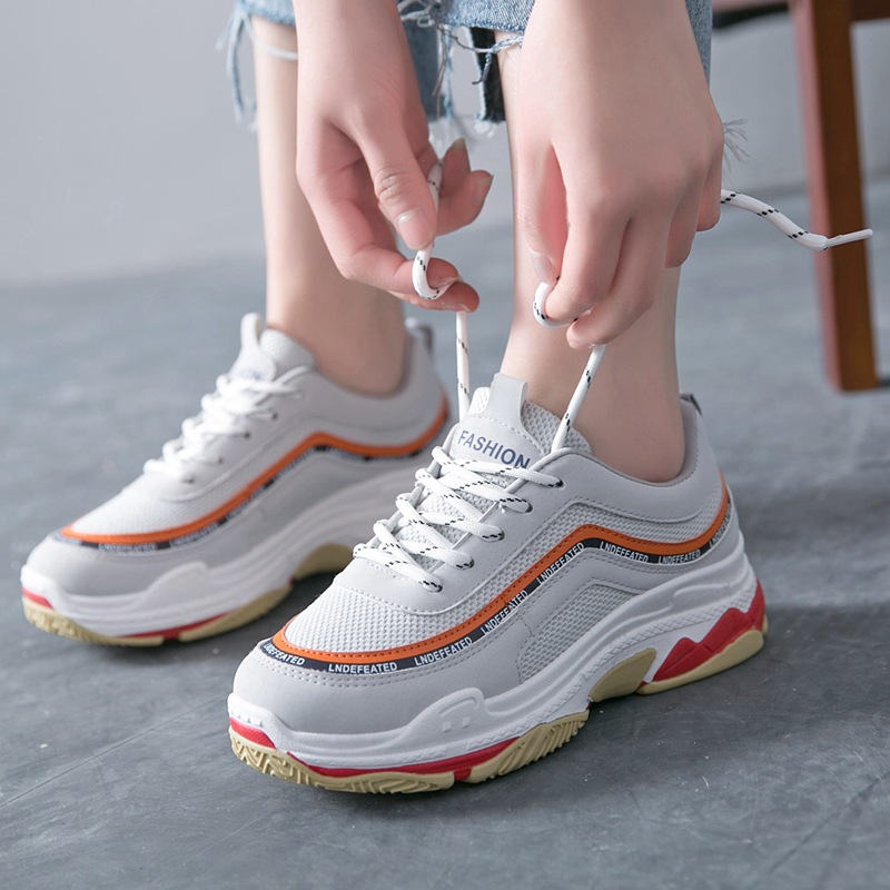 18 Spring new casual shoes ins shoes thick bottom Daddy shoes women sneakers paltform shoes mesh air flat sneakers for girls instantarts women flats emoji face smile pattern summer air mesh beach flat shoes for youth girls mujer casual light sneakers