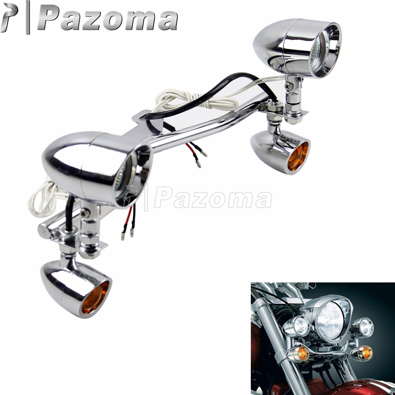 Motorcycle Driving Lamp W/Turn Signals LED Fog Auxiliary Spot Light Bracket Bar For Honda Shadow VT 750 1100 VTX 1300 1800