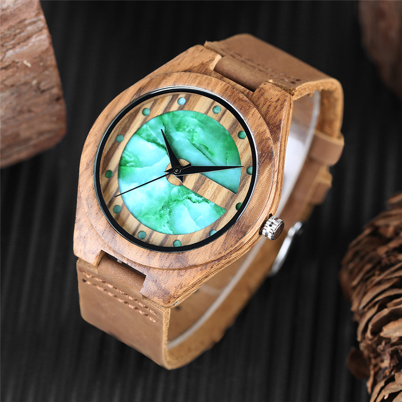 Unique Letter C Shape Luxury Green Marble Dial Men's Watch Genuine Leather Wooden Watches Quartz Watches Men Relogio Masculino