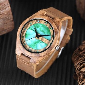 Unique lettre C forme luxe vert marbre cadran montre pour hommes en cuir véritable montres en bois Quartz montres hommes Relogio Masculino