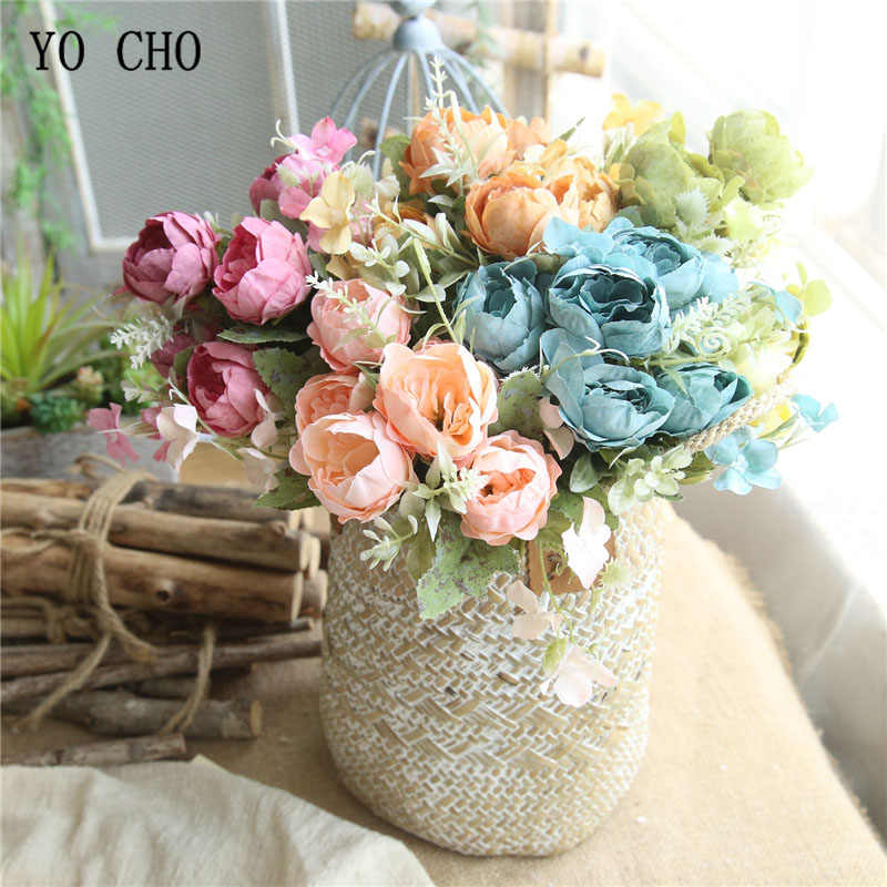 Yo Cho Wedding Bouquet Bridal Bridesmaid Silk Peony Rose Pink