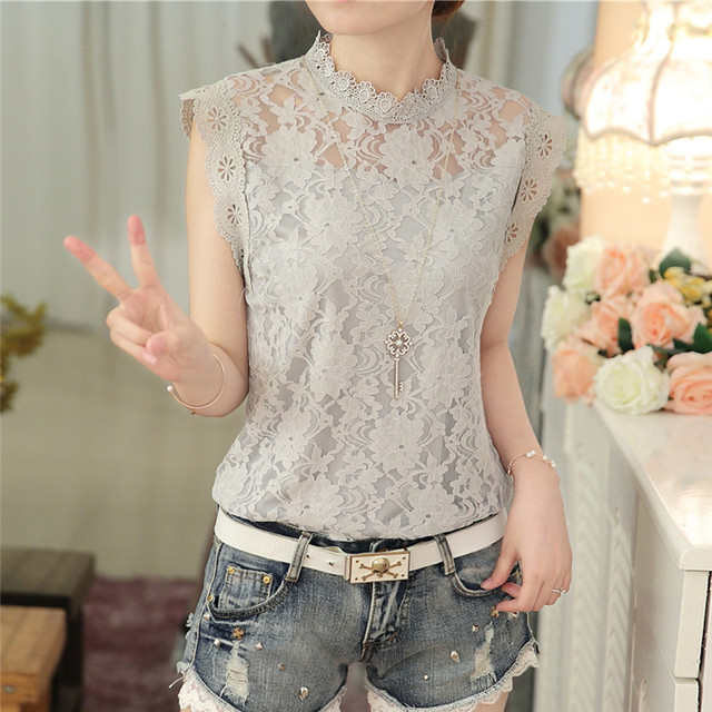 2017 fashion summer Korean style plus size new arrival gray color female blouse slim elegant lace shirt 59G 30