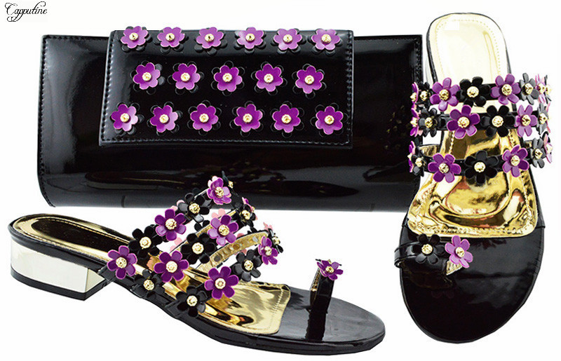 Fashion lower heel shoes and purse handbag sets with purple appliques  JZC006 heel height 3cmFashion lower heel shoes and purse handbag sets with purple appliques  JZC006 heel height 3cm