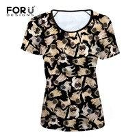 FORUDESIGNS Black 3D Pug Dog Women Basic T Shirt Summer Woman Tops Tees Funny Female Short