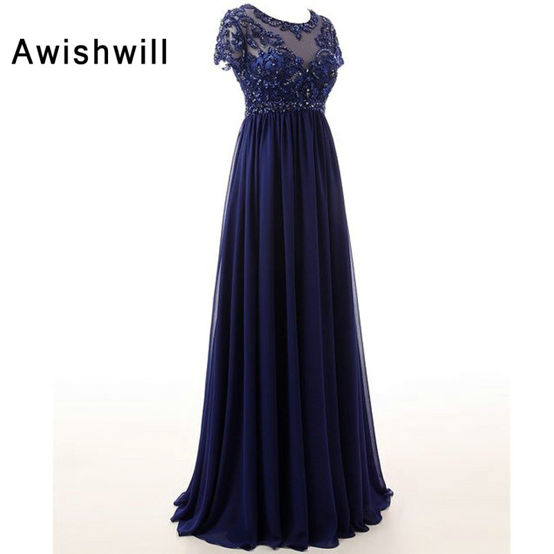 New Arrival Scoop Neckline Beaded A Line Chiffon Long Mother Dresses Elegant Evening Dresses For Weddings 2019-in Mother of the Bride Dresses from Weddings & Events    3