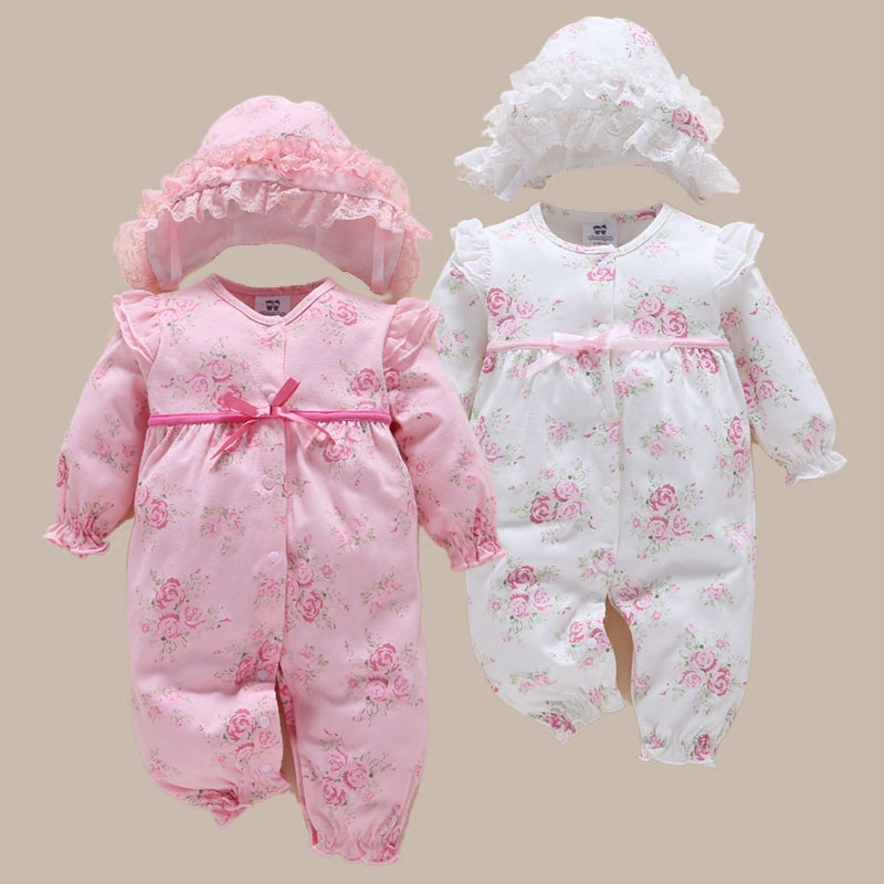 newborn baby girl romper vintage floral sleepsuit pink infant jumpsuit dress 2017 cute lace baby girl clothes of 1 year inverno цена