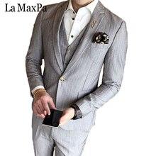 La MaxPa (jacket+pants+vest) High quality brand men suit wedding suit for man business formal suit slim fit male singer XZ074