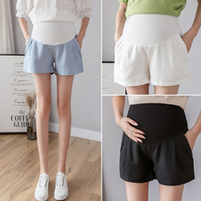 Хлопковые льняные летние брюки для беременных женщин, тонкая одежда для беременных, шорты для беременных с эластичной резинкой на талии, короткие брюки C860