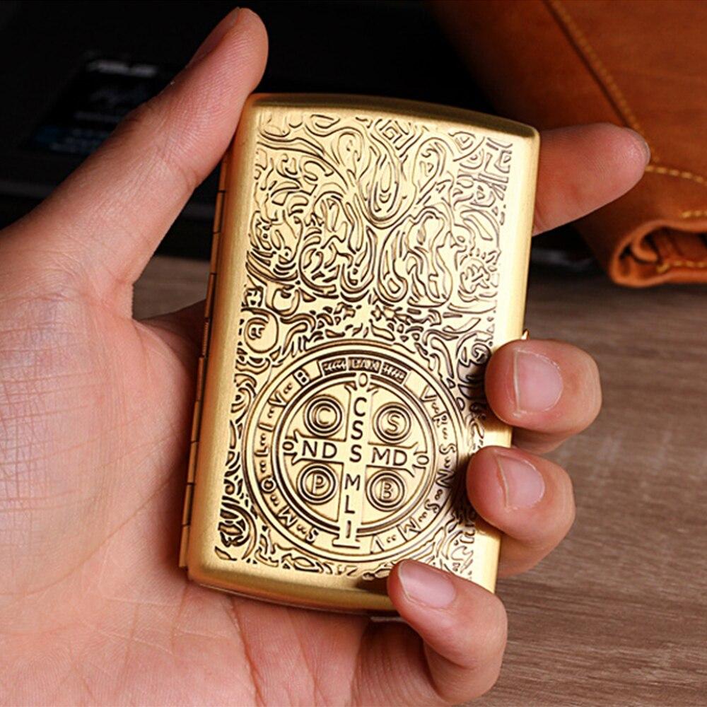 Cigarreira EQUIPE PISTOLA Bronze Puro Constantino Pode Conter 12 pcs Homens De Metal Caixa de Cigarro Cigarros de Tamanho Regular com Clips