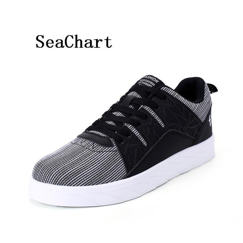 Prix pour SeaChart Hommes Planche À Roulettes de Chaussures Grille Lignes Amoureux Chaussures Respirant PU Cuir Hommes Espadrilles Espadrilles Des Femmes pour Les Couples Sport
