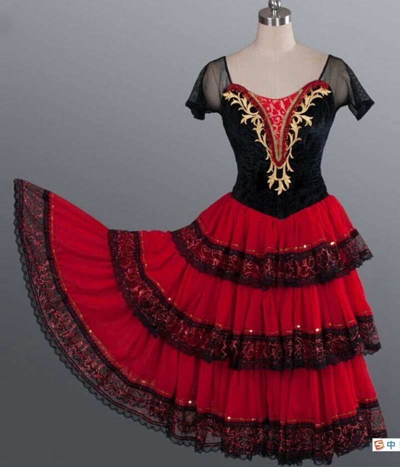 Don Quixote Adult Red Romantic Tutu Spanish Kitri Ballet Dress women Professional Tutu Ballet Spanish Dance Costume for girlsBallet   -