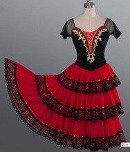 דון קישוט למבוגרים אדום רומנטי טוטו ספרדית Kitri בלט שמלת נשים מקצועי טוטו בלט ספרדית ריקוד תלבושות עבור בנות