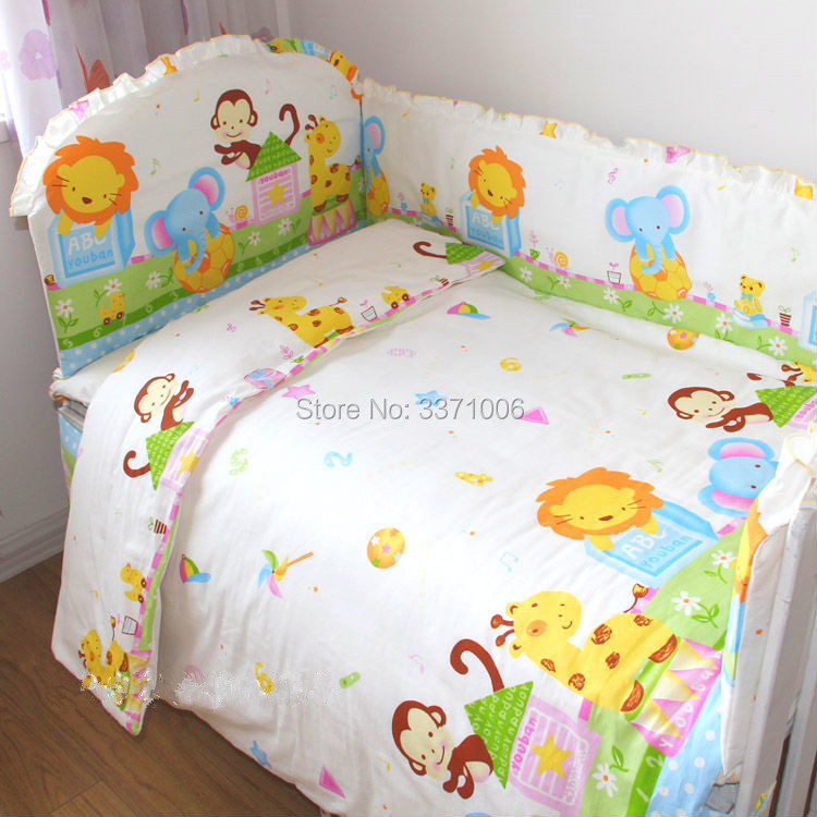 Фото Cartoon Baby bumpers bed around bedding package bed sheets 100% cotton thickening beautiful Crib bumpers for boys and girls 4pcs