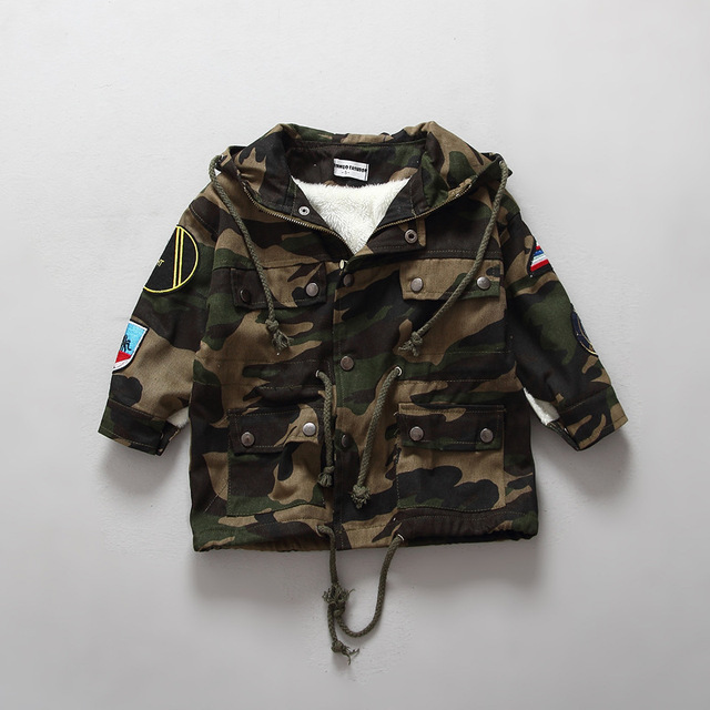 Baby kids winter jacket army green hooded full sleeve warm coat for boys and girls unisex plush flee thick outerwear coats