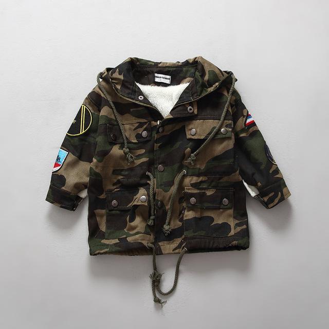 O bebê caçoa inverno exército jaqueta verde com capuz completo manga quente casaco para meninos e meninas unisex fugir de pelúcia outerwear de espessura casacos