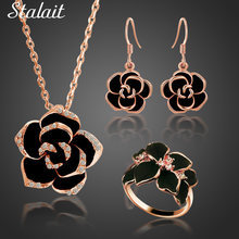 Новые Классические черные колье в виде цветка розы серьги кольца