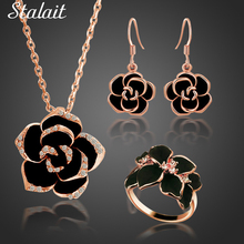 New Jewelry Sets Black Enamel Rose Flower Necklace/Earrings/Rings Austrian Crystal Flower Sets 2606 hot black rose flower enamel jewelry set rose gold color earrings necklace rings bridal jewelry sets for women wedding jewelry