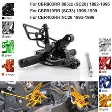 CNC Aluminum Adjustable Rearsets Foot Pegs For Honda CBR900RR 893cc CBR919RR SC33 CBR400RR NC29