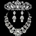 2017 Fashion Design Flower Crystal Brides 3PCS Necklace Earrings Tiaras Crowns Bridal Wedding Jewelry Set Accessories For Women