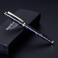 Fashion Blue Marble Golden Clip Rollerball Pen Good Quality Hero 9201 Black Ink Metal Signature Pens with An Original Gift Box