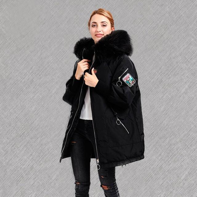 Большой натуральный меховой воротник 2018 зимняя куртка женская Feamle белый утиный пух куртка женская зимняя куртка Толстая теплая длинная пуховая женская парка