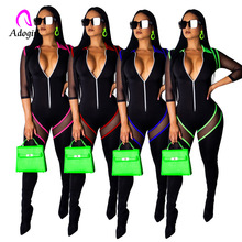 Long Sleeve zipper Black Bodycon Jumpsuit NA01