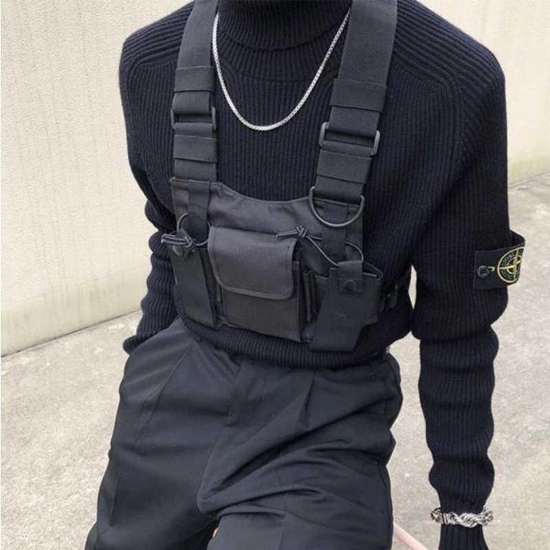 ホットヒップホップ胸バッグ男性のためのオックスフォード防水ファッションストリート機能パッケージの戦術ハーネス胸リグバッグカニエ西
