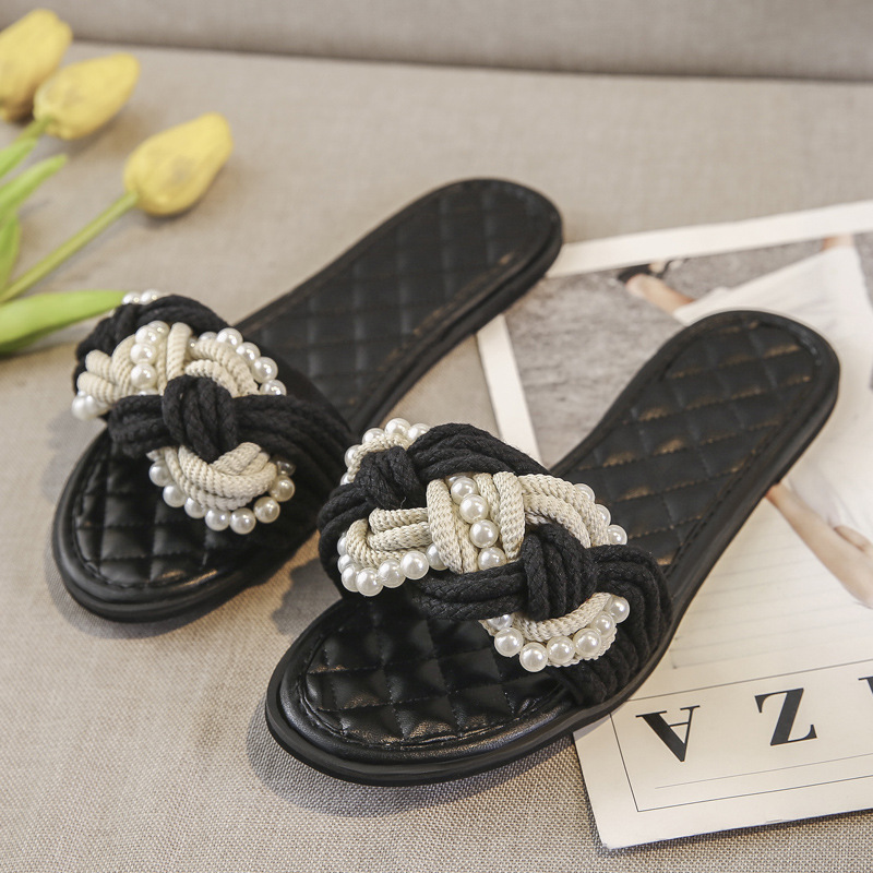 2019 Outsides Slippers Small New Female Slippers Black Pearl Twist Braided Open Toe Slippers Flat Crystal Slide Fashion fgb782019 Outsides Slippers Small New Female Slippers Black Pearl Twist Braided Open Toe Slippers Flat Crystal Slide Fashion fgb78