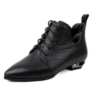 Image 2 - Fedonasファッション女性アンクルブーツcorss縛ら低かかと秋の女性靴女性ポインテッドトゥパーティーウエディングパンプス女性 2021 ブーツ